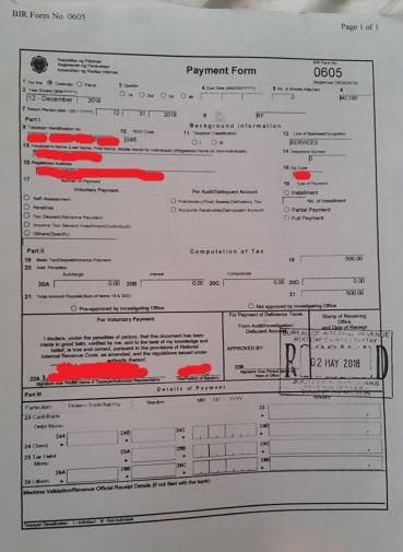 BIR Payment form 0605
