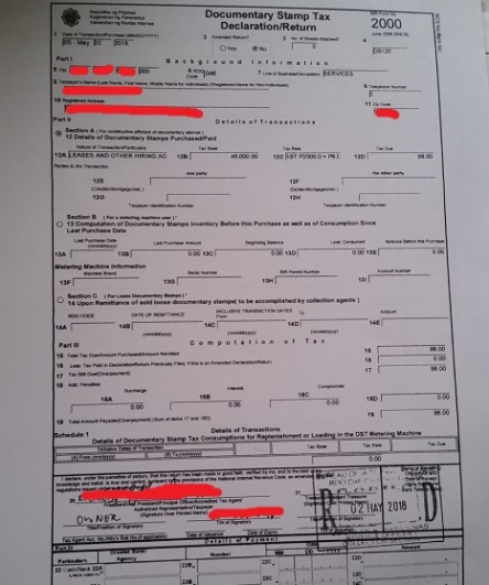 BIR Form 2000 issued to me