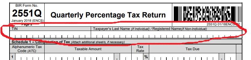 How to file Percentage Tax- Bir form 2551Q- Tax codes