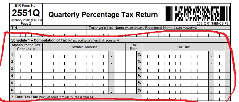 How to file Percentage Tax- Bir form 2551Q- Filling out Schedule 1-Computation of Tax