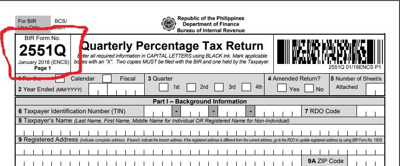 How to file Percentage Tax- Bir form 2551Q
